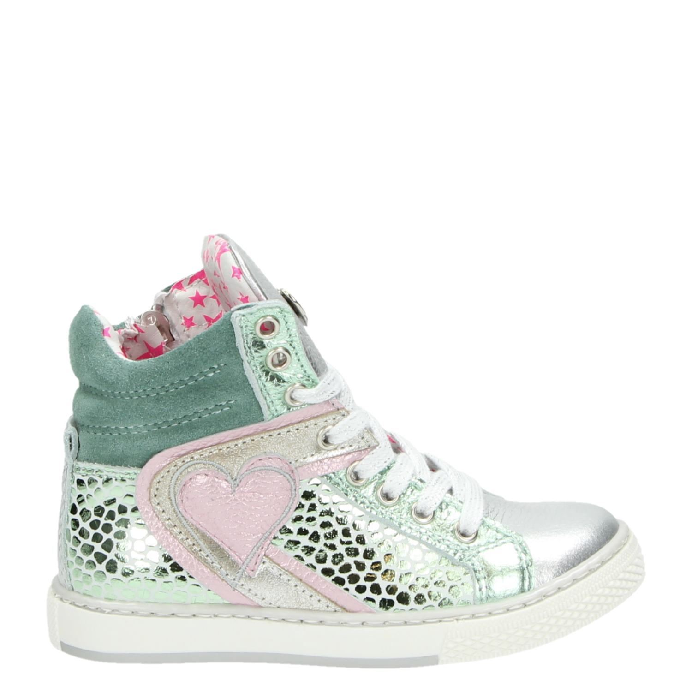 Mim Pi meisjes hoge sneakers zilver
