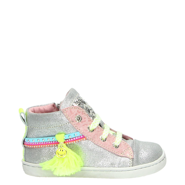 a610706e307 Shoesme meisjes hoge sneakers zilver