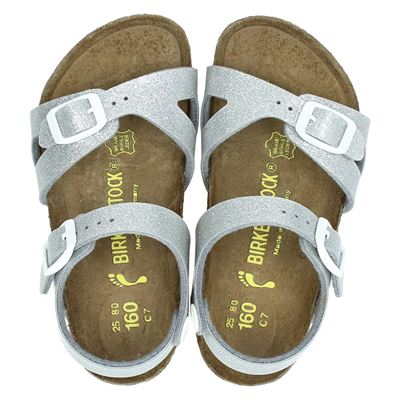 Birkenstock meisjes sandalen zilver