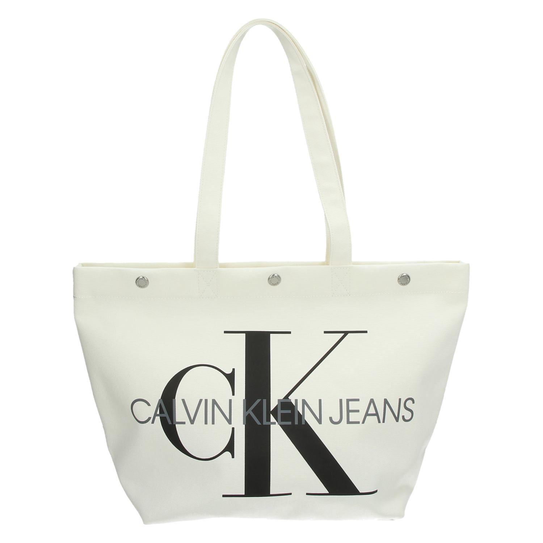 829fbf44102 Calvin Klein Canvas Utility EW tassen schoudertassen wit